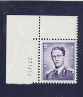 Boudewijn Bril Nr. 1029 - 5 Fr. Postfris Xx - Drukdatum 24.IX.57 - 1953-1972 Anteojos