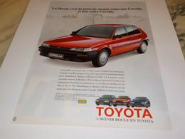 PUBLICITE  L AVENIR ROULE EN TOYOTA 1988 - Automobili