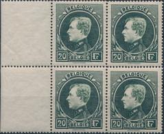 [** SUP] N° 290B, 20F Vert Foncé En Bloc De 4, Bdf - Certificat Photo Soeteman. LUXE - Cote: 4200€ - 1929-1941 Groot Montenez