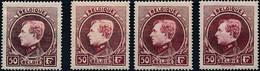 [** SUP] N° 291A/91D, 50F Lie De Vin - Les 4 Premières Nuances - Cote: 530€ - 1929-1941 Groot Montenez