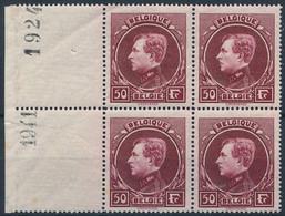 [** SUP] N° 291D, 50F Lie De Vin Rosé En Bloc De 4 (1 Timbre Pointes De Rouille Et Non Compté). Inscriptions Marginales  - 1929-1941 Groot Montenez