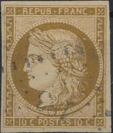 [O SUP] N° 1a, 10c Bistre-brun, Bien Margé Et Obl Légère - Certificat Photo Et Signé Calves - Cote: 450€ - 1849-1850 Ceres
