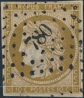 [O SUP] N° 1c, 10c Bistre Verdâtre Foncé, Bien Margé Et Obl 'PC780' - Certificat Photo - Cote: 1000€ - 1849-1850 Ceres