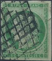 [O SUP] N° 2, 15c Vert, Belles Grandes Marges Et Obl 'grille' Doublée - Superbe - Cote: 1100€ - 1849-1850 Ceres