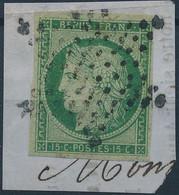 [O TB] N° 2, 15c Vert TB Margé Sur Petit Fragment Obl étoile Centrale. Certificat Photo De La EFM (Madrid) - Cote: 1100€ - 1849-1850 Ceres