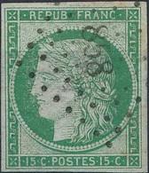 [O B/TB] N° 2, 15c Vert Avec Belles Marges Régulières (petit Mince), TB Obl Centrale 'PC858' - Aspect Superbe - Cote: 11 - 1849-1850 Ceres