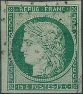 [O SUP] N° 2a, 15c Vert Clair, Belles Grandes Marges Et Obl Légère 'étoile De Paris' - Superbe - Cote: 1150€ - 1849-1850 Ceres