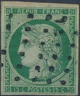 [O SUP] N° 2b, 15c Vert Foncé, Belles Marges Régulières Et Obl 'gros Points' - Signé Brun. Superbe - Cote: 1250€ - 1849-1850 Ceres