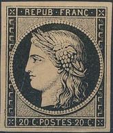 [* SUP] N° 3b, 20c Noir/chamois, Marges énormes Et Pleine Gomme Originale Avec Légère Trace. Signé Roumet - LUXE - Cote: - 1849-1850 Ceres