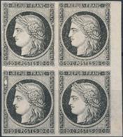 [(*) SUP] N° 3a, 20c Noir/blanc En Bloc De 4 Avec Marges énormes Et Bord De Feuille. Curiosité Timbre 3 'gros Point Blan - 1849-1850 Ceres