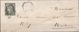 [Doc TB] N° 3i, 20c Gris TB Margé Sur TB Enveloppe Vers Nantes. Nuance Superbe. Signé Calves - Cote: 3250€ - 1849-1850 Ceres
