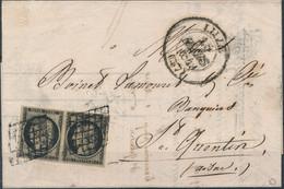 [Doc SUP] N° 3, 20c Noir/chamois En Paire Bien Margée Sur TB LAC De Lille '15 Mars 1849' Vers St-Quentin. Signée Roumet. - 1849-1850 Ceres