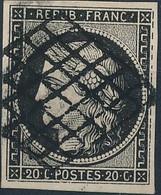[O TB] N° 3a-Cu, 20c Noir Sur Blanc Avec Nombreuses Interruptions Du Cadre Droit, TB Margé - 1849-1850 Ceres