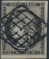 [O TB] N° 3c, 20c Gris-noir Margé (filet Gauche Intact) Avec Voisin Et Obl Centrale. Nuance Rare. Signé Calves - Cote: 5 - 1849-1850 Ceres