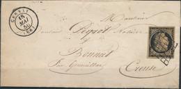 [Lettre TB] N° 3, 20c Noir Sur Chamois Foncé (Maury 3c) Grandes Marges Sur Lettre Obl DC 'Gervay' Le 18 Mai 1850 Vers Bo - 1849-1850 Ceres
