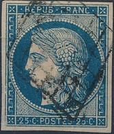 [O TB] N° 4b, 25c Bleu Sur Jaune, Bien Margé - Cote: 75€ - 1849-1850 Ceres