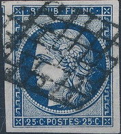 [O B/TB] N° 4a, 25c Bleu Foncé, Marges énormes Et Obl Grille Superbe - Cote: 75€ - 1849-1850 Ceres
