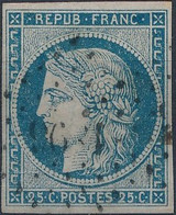 [O SUP] N° 4f, 25c Bleu Clair, Bien Margé - Cote: 65€ - 1849-1850 Ceres