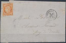 [Doc SUP] N° 5, 40c Orange Bien Margé Sur TB LAC De Landrescies '9 Fevr 52' Vers Le Puy De Dome. Signée Calves - Cote: 9 - 1849-1850 Ceres
