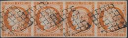 [O SUP] N° 5, 40c Orange En Bande De 4 Superbement Margée Et Joliment Oblitérée Grille. Rare Et Superbe. Signé Brun - Co - 1849-1850 Ceres