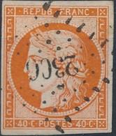 [O SUP] N° 5, 40c Orange, Belles Marges Régulières Et Belle Obl Centrale 'PC2306' - Superbe - Cote: 500€ - 1849-1850 Ceres