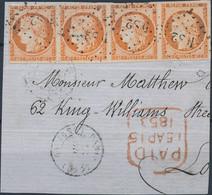 [O SUP] N° 5a, 40c Orange Vif En Bande De 4 Avec Belles Marges Et TB Obl 'DS2' Sur Morceau De Lettre. Signé Roumet - Spl - 1849-1850 Ceres