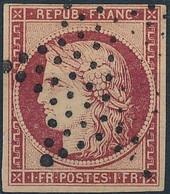[O TB] N° 6, 1F Carmin Bien Margé Et Signé Brun - Cote: 1000€ - 1849-1850 Ceres