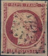 [O TB] N° 6, 1F Carmin, Grandes Marges Régulières - Cote: 1000€ - 1849-1850 Ceres