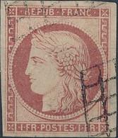 [O SUP] N° 6, 1fr Carmin Avec Belles Marges Et Obl 'grille' Légère - Cote: 1000€ - 1849-1850 Ceres