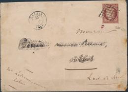 [Doc TB] Maury 7d, 1F Rouge-brun Avec Belles Marges Régulières Sur Lettre De Calais Le 25 JUIL 49 Vers Blois. Signée Cal - 1849-1850 Ceres