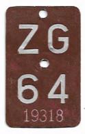 Velonummer Zug ZG 64 - Targhe Di Immatricolazione