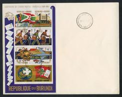 Burundi (Republic) 1974 UPU Centenary IMPERF. SOUVENIR SHEETS On Two Large FDCs, COB BL77A/78A - 1970-79: Gebraucht
