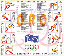 Spain 1994 Spanish Olympic Gold Medal Winners 10 (20) Stamps-block MNH 2105.1095 - 1991-00 Nuevos & Fijasellos