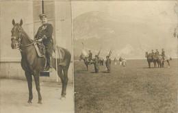 110521 - RARE CARTE PHOTO Double Vues 74 ANNECY MILITARIA Revue Militaire Du 5 Août 1909 Cheval Cavalier Officier épée - Annecy