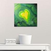 """Toile Peinture Acrylique Originale """"Le Coeur De Voh"""". Signée. Originale Thème Coeur, Amour, Vert - Acrilicos"""