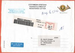 CIPRO - CYPRUS - 2002 - Registration Fee Paid Envelope + 00,71 Postage Paid, EMA,Red Cancel - Registered - Medium Envelo - Cartas