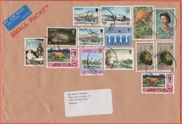 JERSEY - 2003 - 14 Stamps - Small Packet - Air Mail - Medium Envelope - Viaggiata Da Jersey Per Bruxelles, Belgium - Jersey