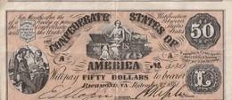 Billet - Confédérate States Of America 50 Dollars  1861 - Devise De La Confédération (1861-1864)