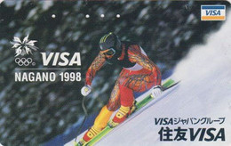 TC JAPON / 110-016 - JEUX OLYMPIQUES NAGANO - Sport SKI ** VISA ** - OLYMPIC GAMES JAPAN Phonecard - Olympic Games