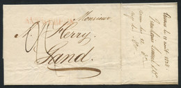 Belgium (Kingdom Of United Netherlands) 1828 Cover From Antwerp To Gand, Red ANTWERPEN Postmark On The Front - 1815-1830 (Période Hollandaise)