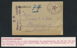 Belgium WWI 1918 German Officer's Letter Card To Hamburg With OFFIZIERHEIM ANTWERPEN STARRED POSTMARK, VERY RARE - Armée Allemande