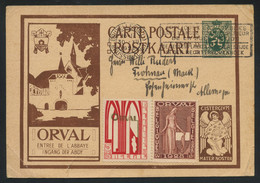 Belgium 1928 Orval 35 + 25c Illustrated Post Card From Brussels To Germany, With Two Stamps From The Set, Un-cancelled - Lettres & Documents