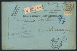 Belgium 1912 Registered C.o.d. Cover From Brussels To Berlin Franked With Grosse Barbe 50c Greenish Grey, COB 78b - 1905 Grosse Barbe