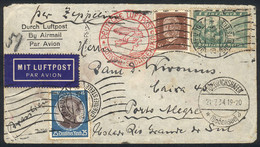GERMANY: Cover With Nice Three-color Postage Sent From Hamburg To Porto Alegre On 20/JUL/1934, With Friedrichshafen Tran - Cartas