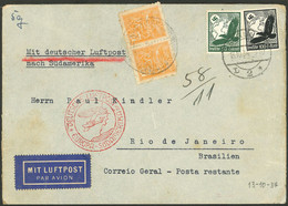 GERMANY: MIXED POSTAGE: Airmail Cover Sent From Berlin To Rio De Janeiro (Poste Restante) On 13/OC/1934, With German Pos - Cartas