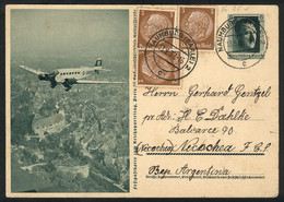 GERMANY: Illustrated Postal Card (Nazi Airplane) With Additional Postage (total 15Pf.), Sent From Hamburg To Argentina O - Cartas