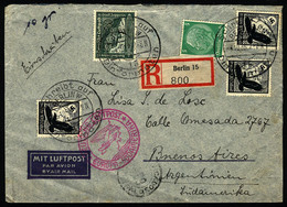 GERMANY: Registered Airmail Cover Sent From Berlin To Argentina On 4/OC/1938 Franked With 3.55Mk. With Special Postmarks - Cartas