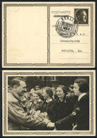 GERMANY: Postal Card Illustrated With View Of Hitler And Nazi Women, Sent From Berlin To Sebnitz On 20/AP/1939, VF Quali - Cartas
