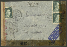 GERMANY: Airmail Cover Sent To Argentina On 17/AU/1943 Franked With 1.50Mk., With Nazi (OKW) + Allied Censor Labels, Ver - Cartas