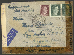 GERMANY: 4/OC/1943 Walterhausen - Argentina, Airmail Cover Franked With 1.15Mk., With Double Nazi + Allied Censor Labels - Cartas